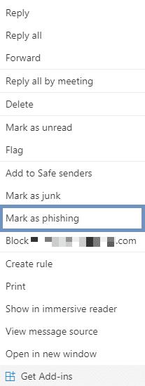 Mark as phishing outlook