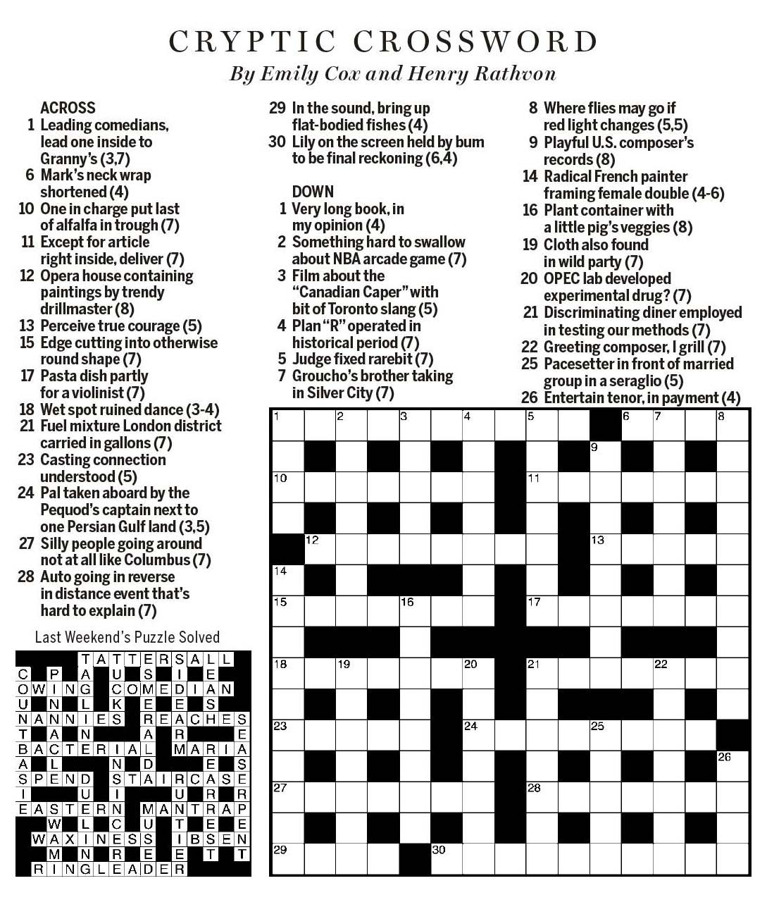 National Post Cryptic Crossword Forum Saturday February 24 2018