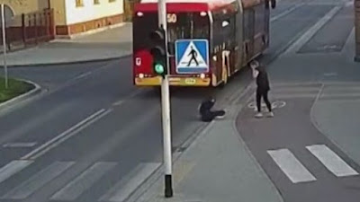 A seventeen-year-old Polish girl was left in shock after her friends' sick prank almost got her headed crushed by the wheels of a bus. The friend was fined £60 for the near-death incident that happened in Czechowice-Dziedzice in Poland.
