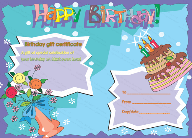 Birthday Gift Certificate Templates: July 2014