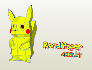 píkachu low poly rondipaper papercraft papertoy