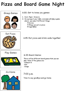 Image result for library program visual schedule pizza board game night