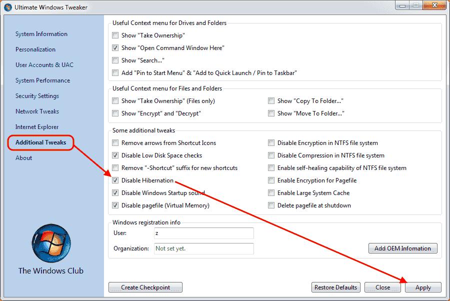 Ultimate Windows Tweaker v2.2 - Disabilitare ibernazione