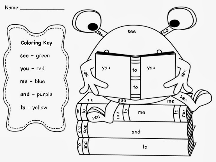 Kindergarten Sight Word Coloring Worksheets Coloring Pages