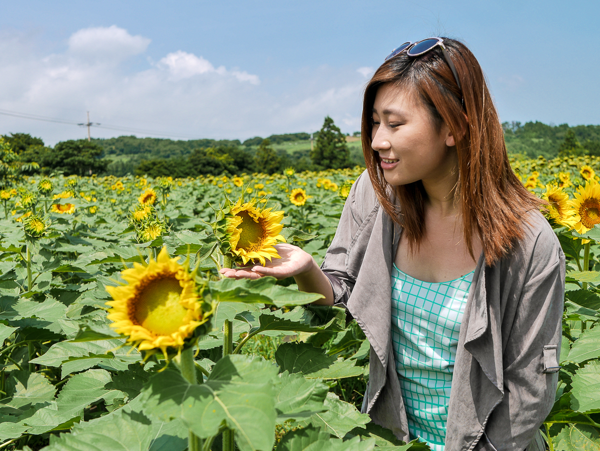 Kimkyungsuk Sunflower farm jeju korea outfit travel fashion