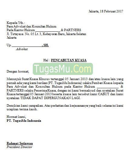 contoh surat kuasa advokat gamis murni