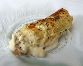 Recette des crêpes à la sauce béchamel au champignon au four