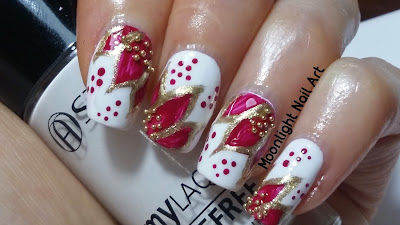 Christmas Poinsettia Nail Art Design with golden beads
