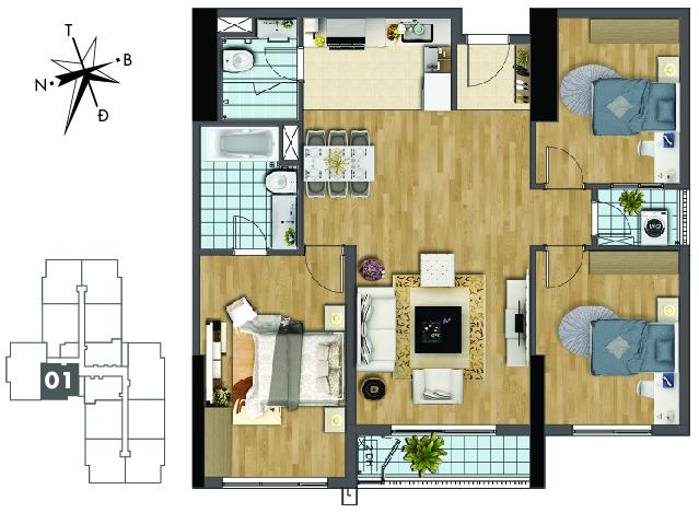Mặt bằng căn hộ 01 tòa Sapphire 2