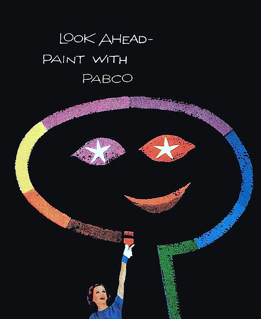 a 1950s magazine ad for Pabco Paints by Saul Bass and a second designer