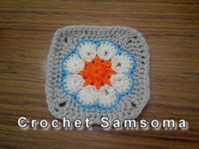 باترون مربع الوردة الافريقية . مفاريش كروشيه . تعلم الكروشيه .  . Crochet African Flower Square