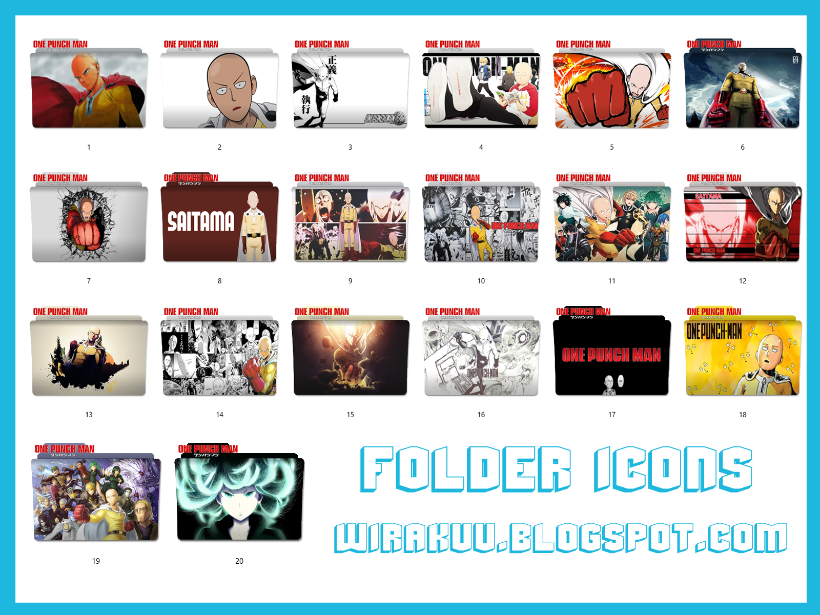 20 Folder Icons Anime One Punch Man Pack 2 (Windows 7, 8, 10)