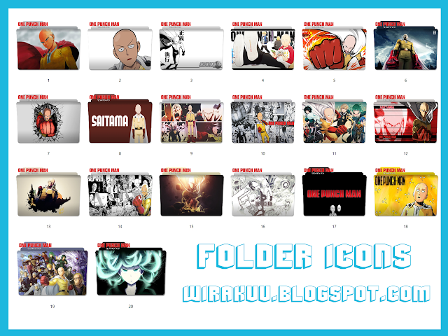 20 Folder Icons Anime One Punch Man Pack 2 (Windows 7, 8, 10)
