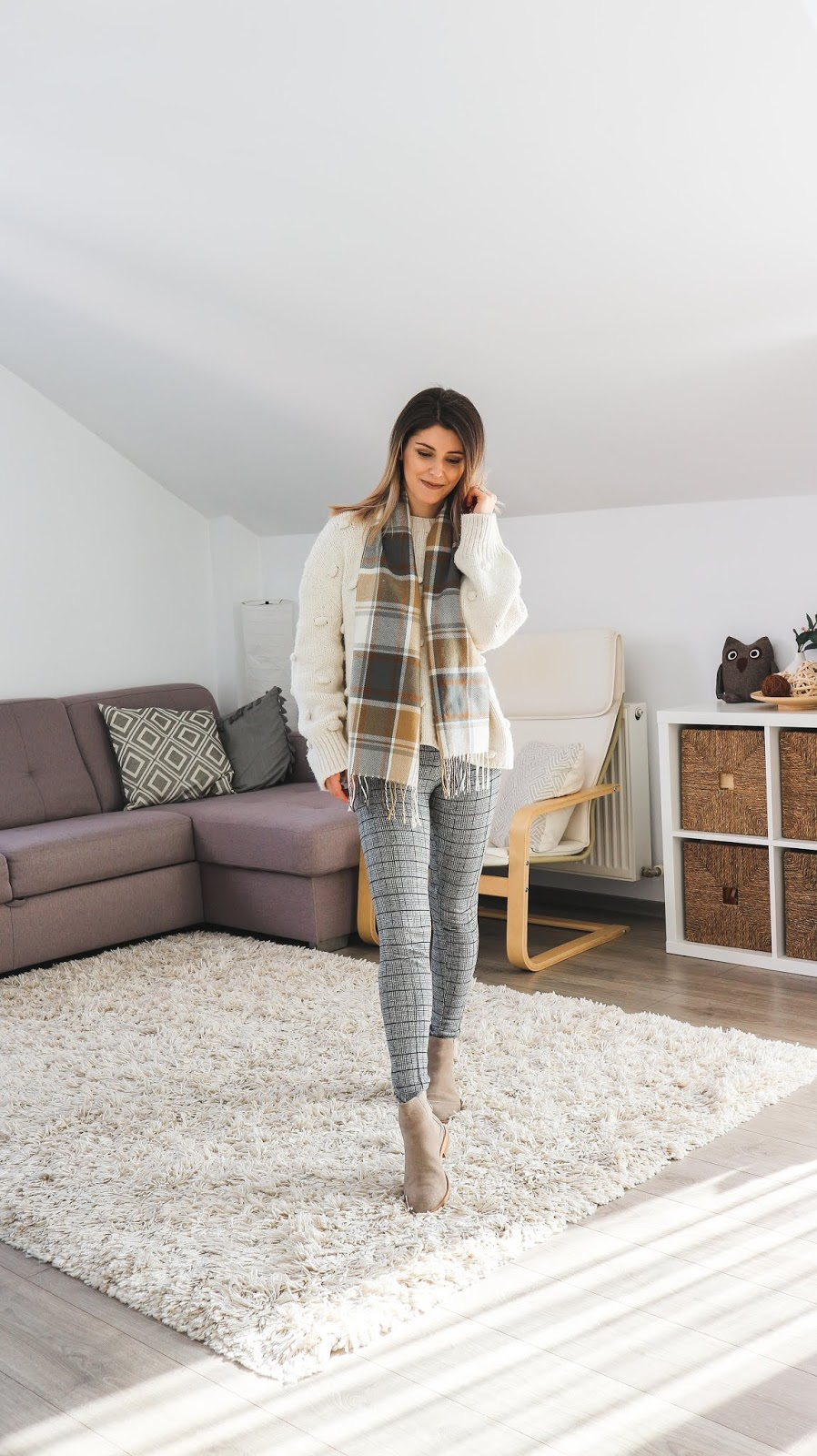 camel and grey toned outfit