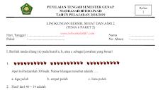 Contoh Soal PTS Kelas 1 Tema 6 Semester 2 (Lengkap Kisi-kisi, Analisis dan Kunci Jabawan ) Kurikulum 2013
