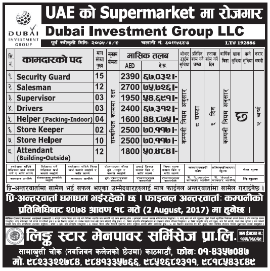 Jobs in UAE for Nepali, Salary Rs 75,726