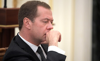Prime Minister Dmitry Medvedev before the meeting on economic issues.