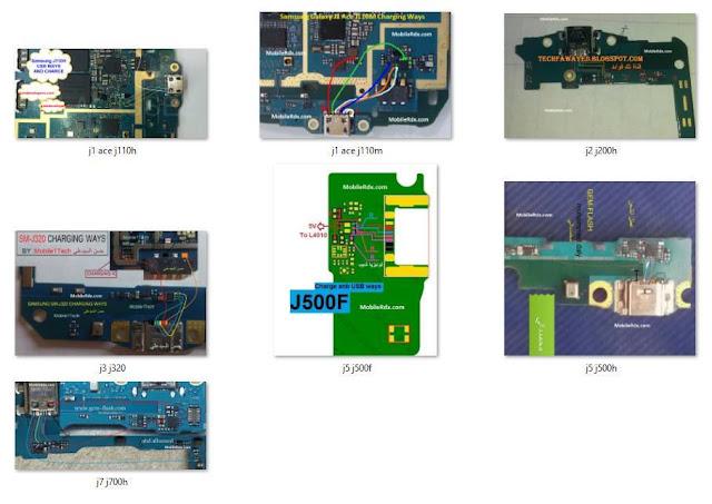مخطط مسارات جكة الشحن لبعض اجهزة السامسونغ