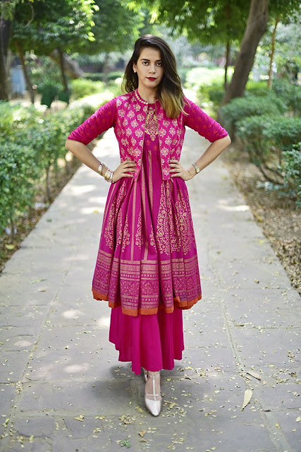 Pink Jacket Style Anarkali with Flared Palazzo Pant