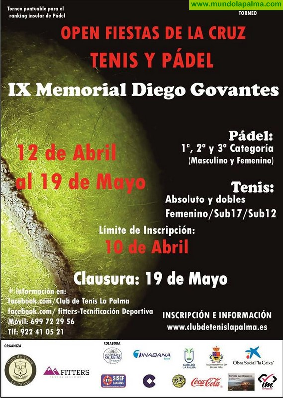 """Abierta la inscripción del torneo open """"Fiestas de la Cruz"""" de tenis y padel """"IX Memorial Diego Govantes"""""""