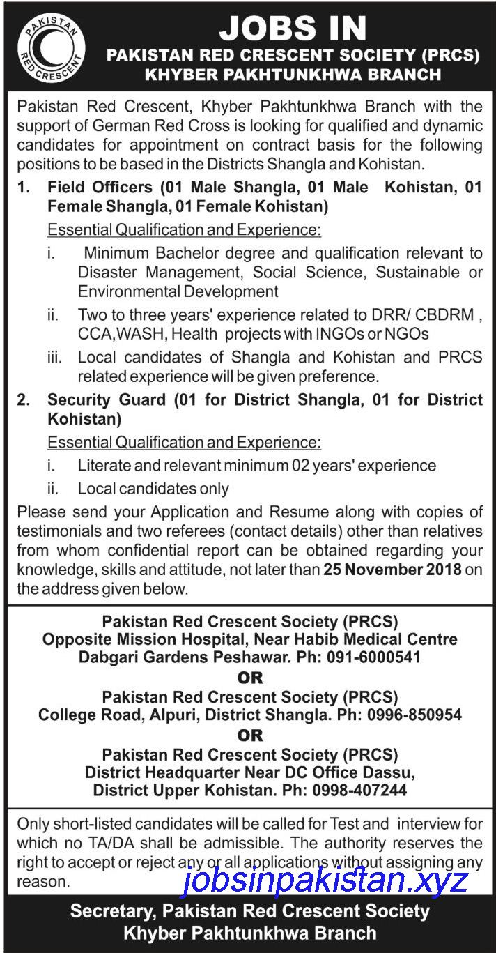 Advertisement for Pakistan Red Crescent Jobs 2018