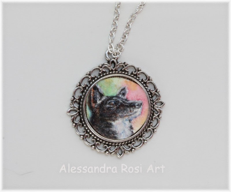 Custom Miniature pet portrait pendant, pet jewelry