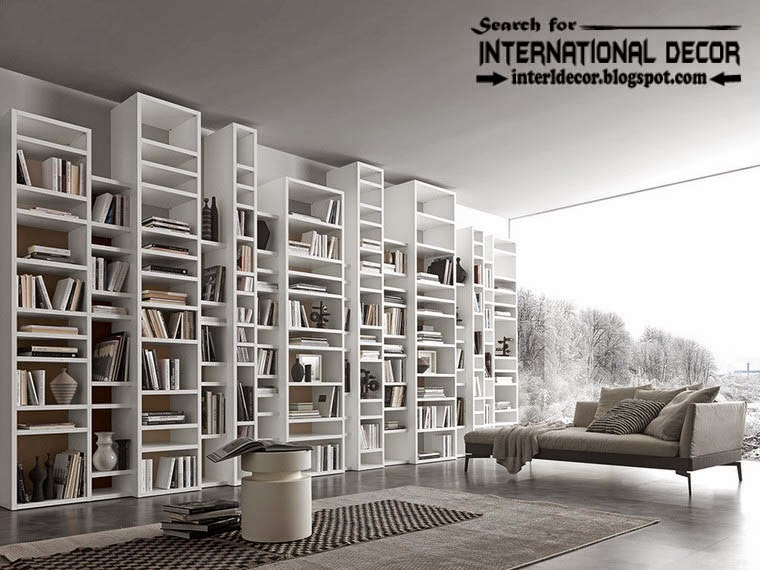 top modern home library design organizing ideas furniture, multi-level shelves and bookcase