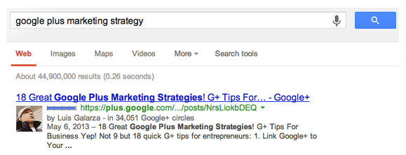 google_plus_full_post_ranking_first_on_google_search