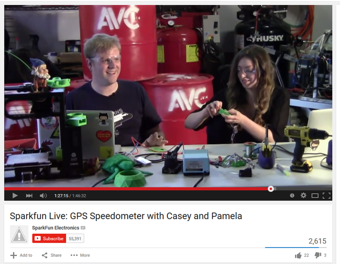 Casey and Pamela hanging out on Sparkfun Live