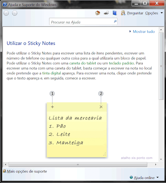 Ajuda Windows para Sticky Notes
