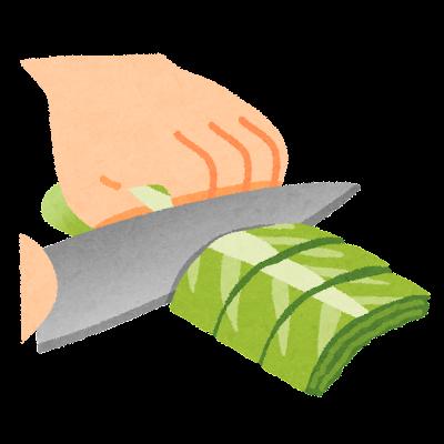ざく切りのイラスト(野菜の切り方)