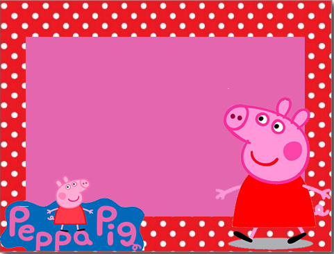 Para hacer invitaciones, tarjetas, marcos de fotos o etiquetas, para imprimir gratis de Peppa Pig en Fondo Rojo con Lunares Blancos.