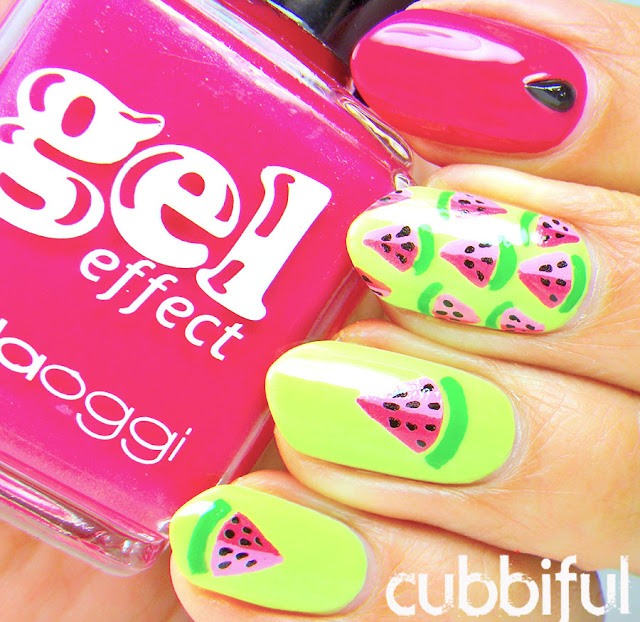 Neon Watermelon Nails