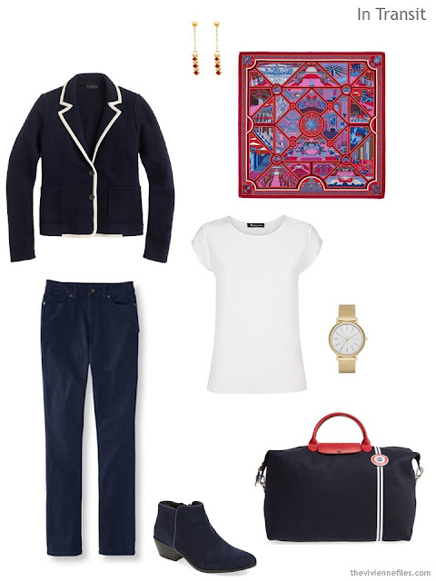 a classic travel outfit in navy and white, with an Hermes scarf