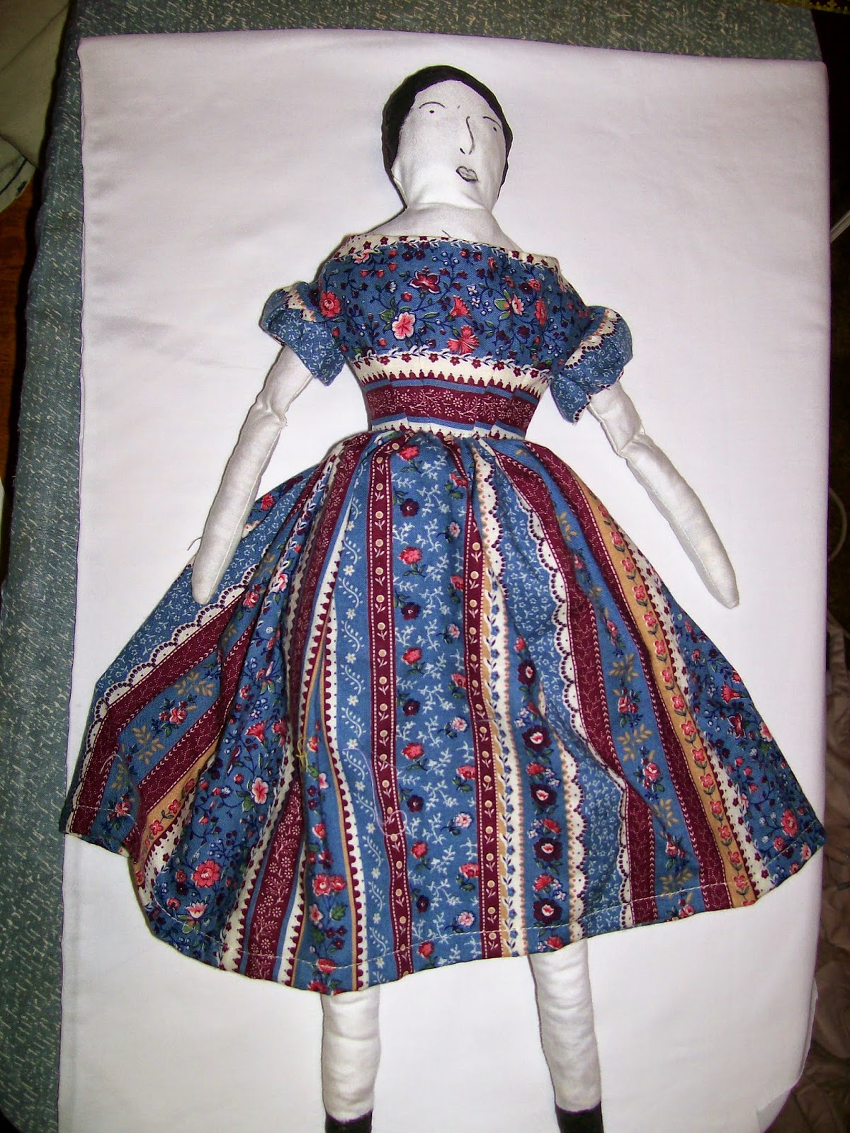 Historic Moments Pattern 400 Cloth Doll in blue striped dress