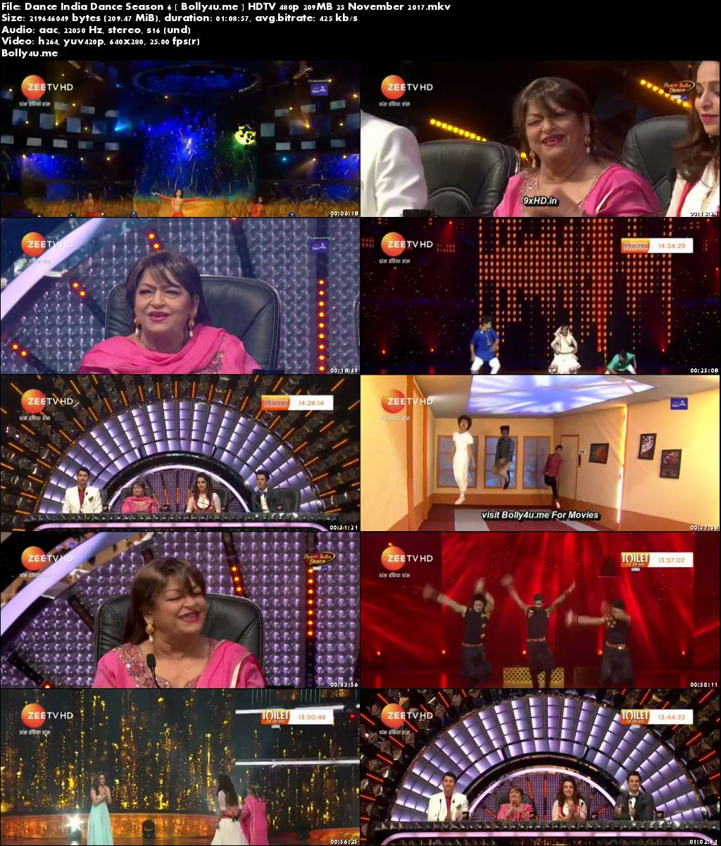 Dance India Dance Season 6 HDTV 480p 200MB 25 November 2017 Download
