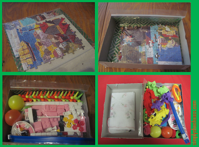 Added goodies inside a puzzle box in an OCC shoebox