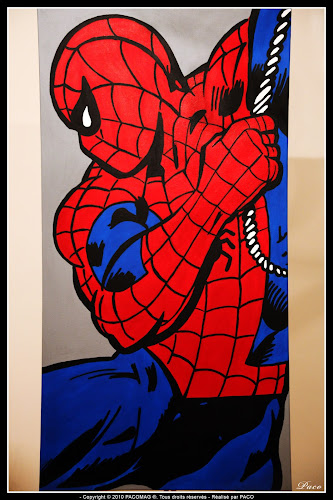 Finition Spiderman sur toile Par Paco illustrateur graphiste, artiste peintre