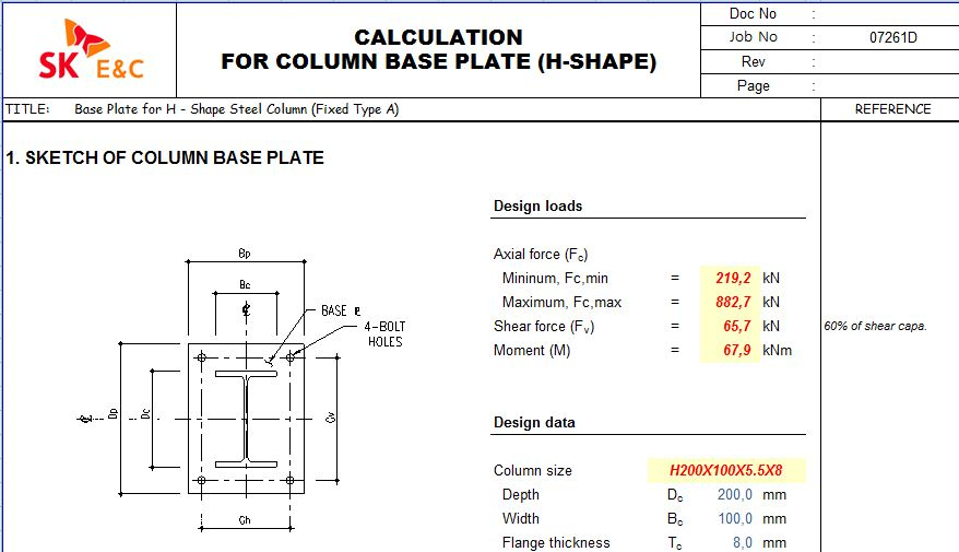 CALCULATION REPORT FOR COLUMN BASE PLATE - worksheet xls