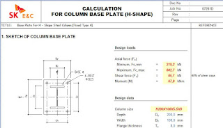 CALCULATION FOR COLUMN BASE PLATE (H-SHAPE) Base plate schedule (H-plate)