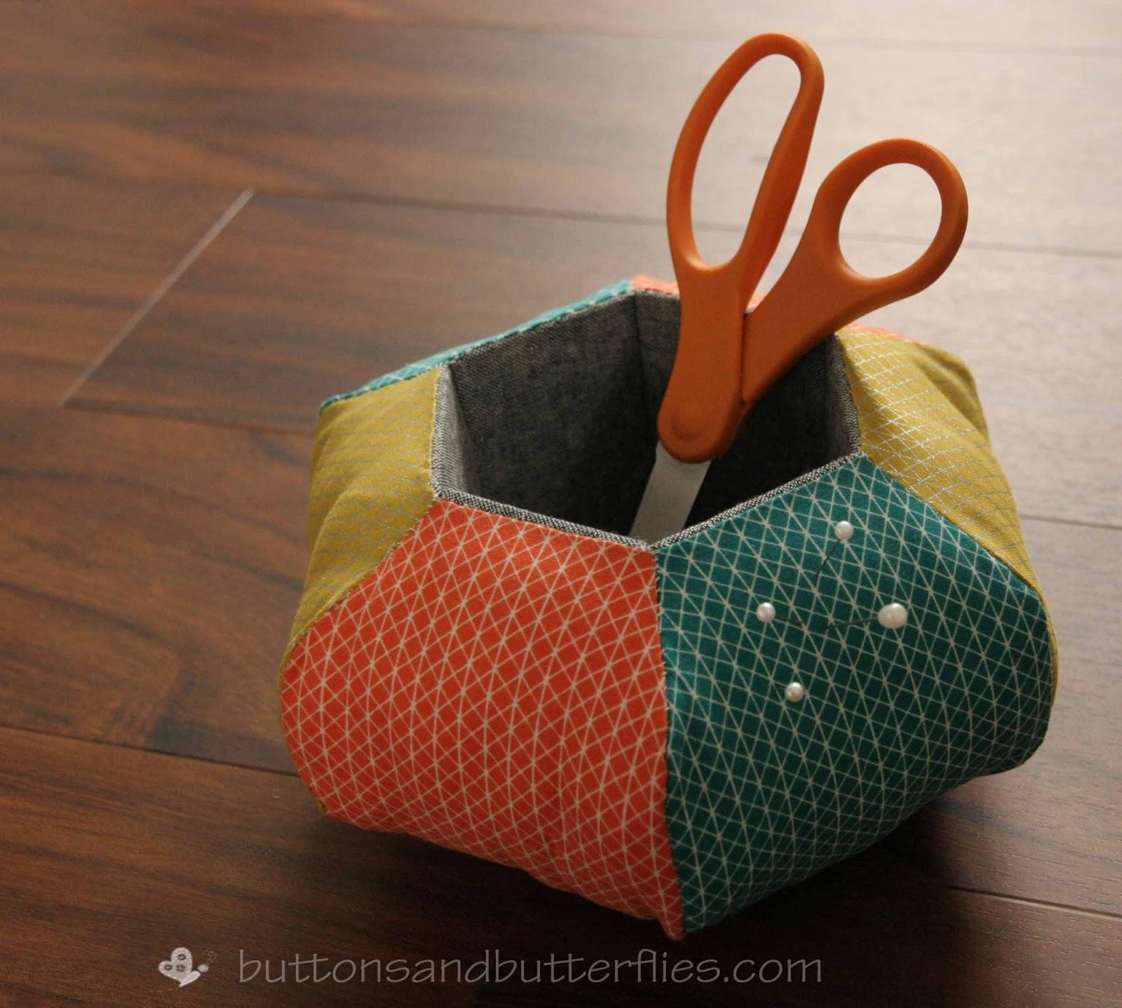 Buttons and Butterflies: Hexie Caddy {Pincushion}