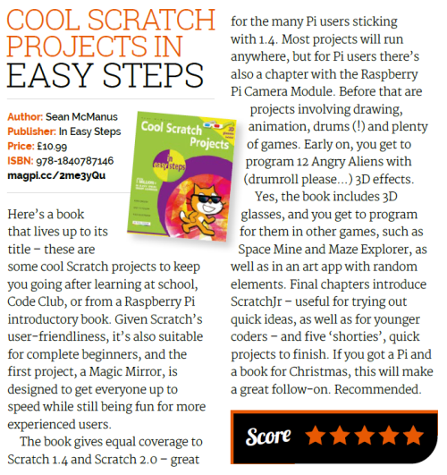 Review from The MagPi of Cool Scratch Projects in Easy Steps