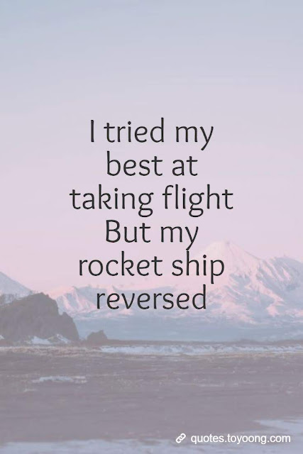I tried my best at taking flight But my rocket ship reversed