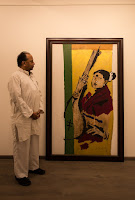 Mr. Gautam Chand Bafna with painting of MS Subbulakshmi by MF Husain displayed at 'Art Bengaluru 2016' by Navrathan's Art Gallery, Image Thomas Jose
