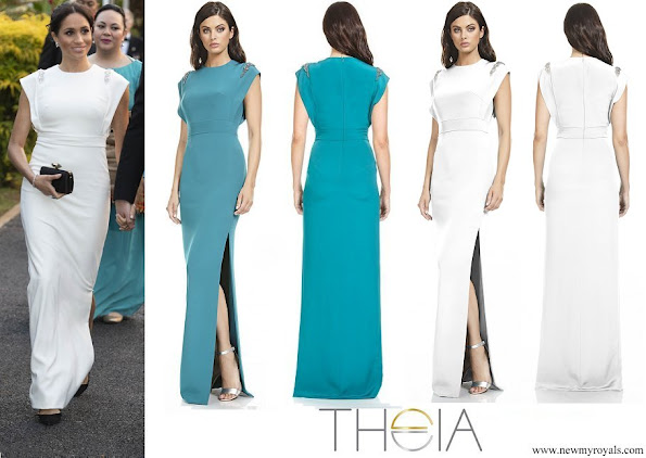 Meghan Markle wore THEIA ivory Cap Sleeve Beaded Shoulder Gown
