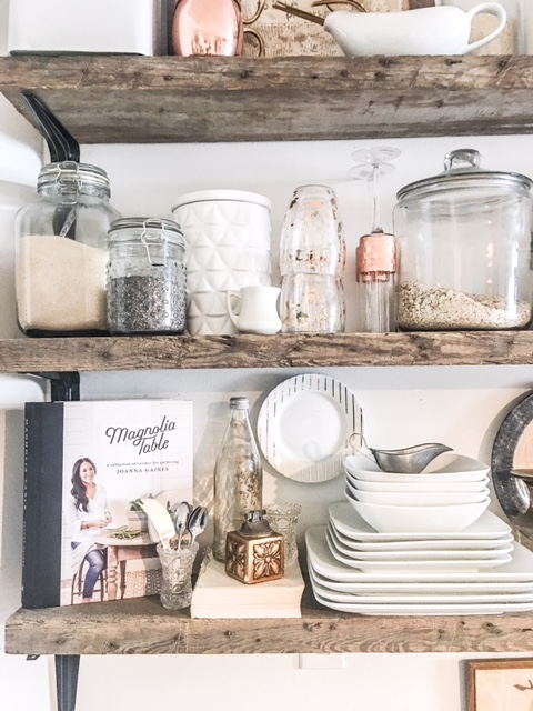 vintage eclectic kitchen open shelving