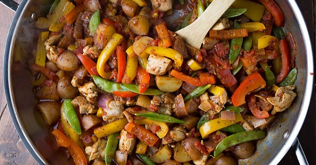 Healthy Chicken Skillet With Cajun Potatoes And Veggies Recipe