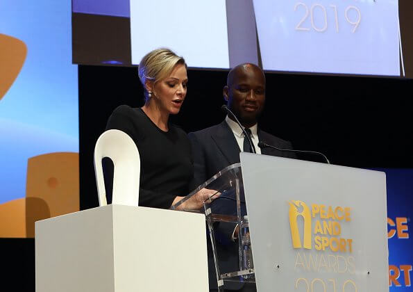 Prince Albert, Princess Charlene and Pierre Casiraghi attended the award ceremony. Princess Charlene in Ralph Lauren dress