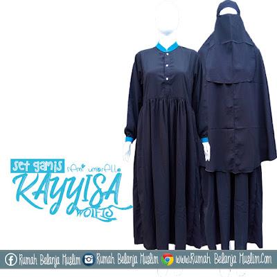 Set Gamis Hitam Syari Kayyisa Semi Umbrella
