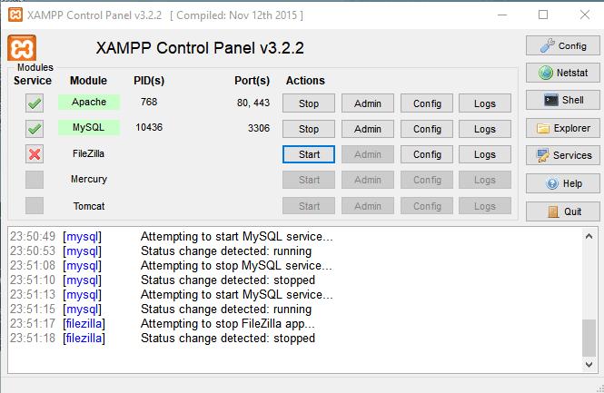 run XAMPP control panel
